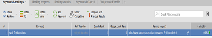 Proof on no. Google ranking with Rank Tracker software
