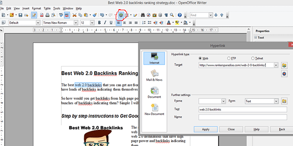 Add your free backlink to your document