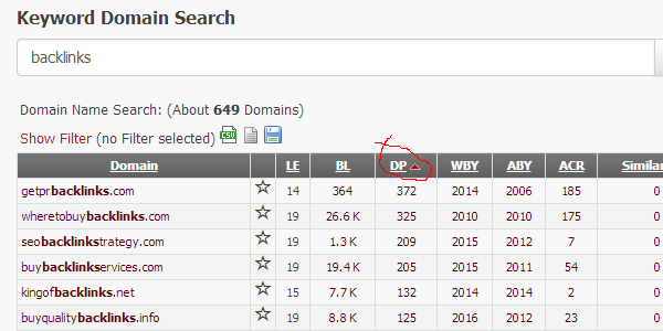 Enter your keyword to find loads of expired domains in your niche
