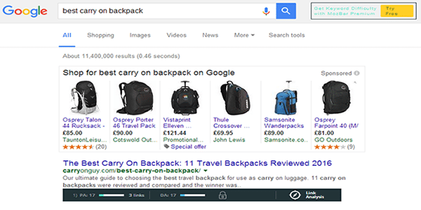 Google your keyword so we can asses the competition