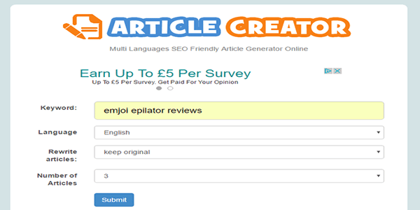 Open up the free online article generator