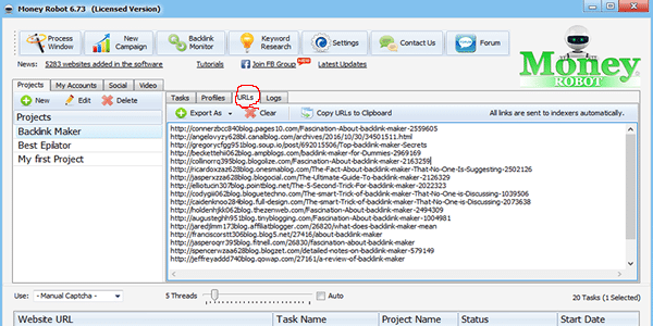 Take a look at the backlinks that the software has created