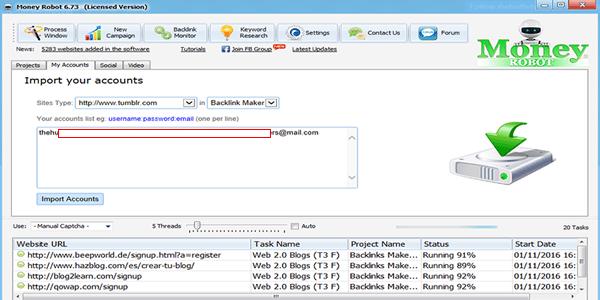 Enter your Web 2.0 account details