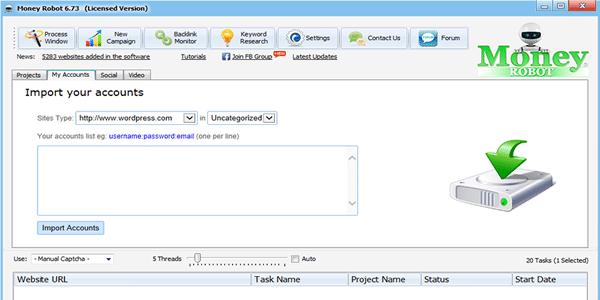 Enter your Web 2.0 site account details