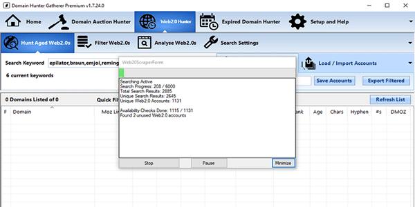 Domain Hunter Gatherer expired Web 2.0 progress report