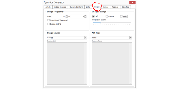 Set your content image settings