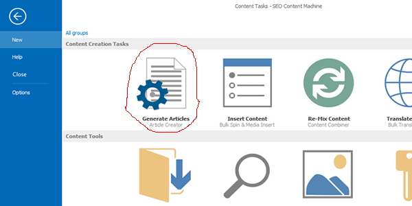 """Select the """"Generate Articles"""" tab"""