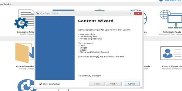 Ignore the SEO Content Machine Content Wizard when first opened