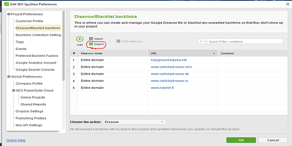 Export Backlinks to Disavow