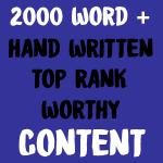 2000 Words Plus Hand Written Top Rank Worthy Content Service